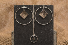 Load image into Gallery viewer, Textured Square Statement Hoops - Recycled Sterling Silver