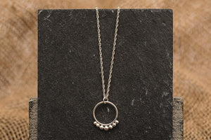 Dotted Hoop Necklace - Recycled Sterling Silver