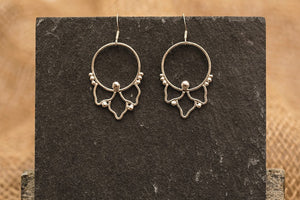 Embellished Drop Hoops - Recycled Sterling Silver
