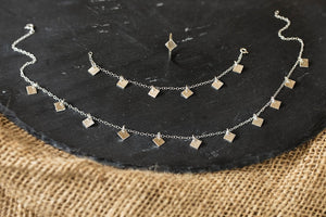 Celestial Squares Necklace - Recycled Sterling Silver