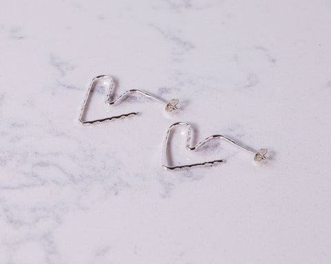 Sterling Silver Hammered Heart Hoops \\ Eco Silver //