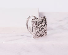 Load image into Gallery viewer, Sterling Silver Hammered Square Ring \\ Eco Silver //