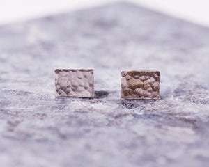 Hammered Rectangle Stud Earrings - Recycled Sterling Silver