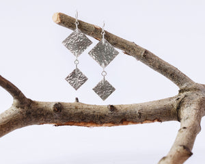 Sterling Silver Double Square Earrings \\ Eco Silver //