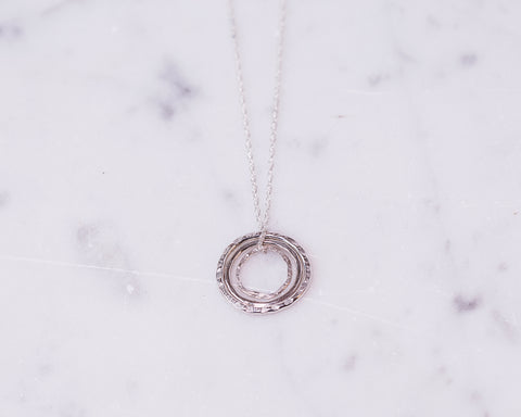 Sterling Silver Concentric Circles Necklace \\ Eco Silver //