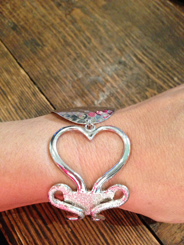Diamond Heart Fork with Hammered Spoon Bowl Bracelet