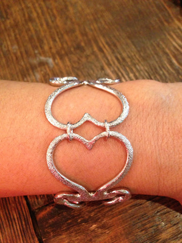 Double Diamond Heart Fork Bracelet