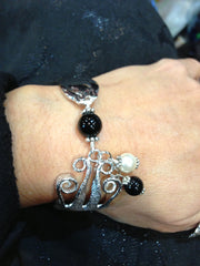 Salad Fork Bracelet with Onyx and Pearl