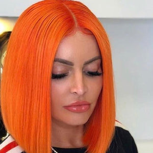 Princess Cut Straight Orange Bob Wig