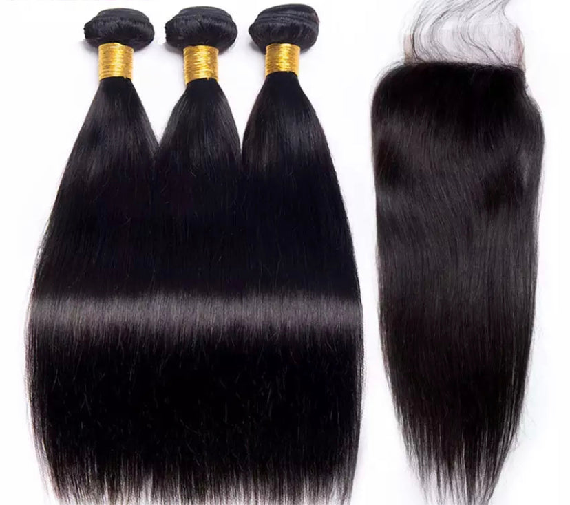 VVS Straight 3 Bundles w/ Closure - a-girls-best-friend-hair-co