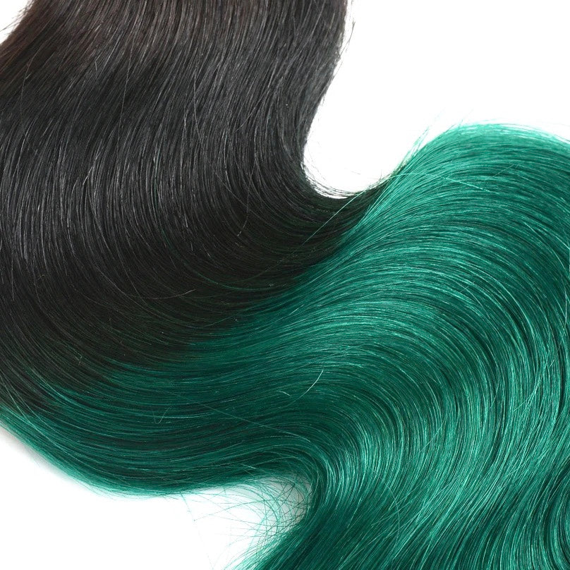 Diamond Two Tone Green Ombre Body Wave 3 Bundles - a-girls-best-friend-hair-co