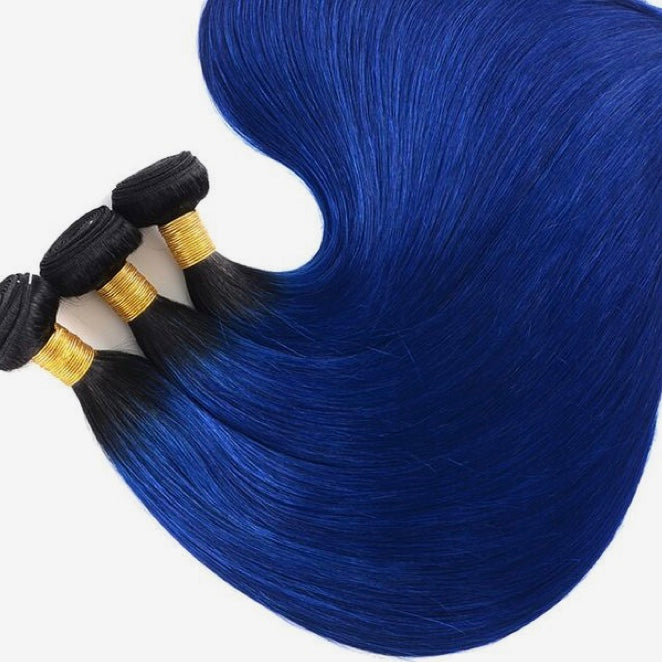 Diamond Two Tone Blue Ombre Straight 3 Bundles - a-girls-best-friend-hair-co
