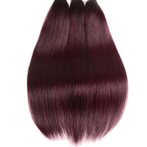 Diamond Two Tone Burgundy Ombre Straight 3 Bundles - a-girls-best-friend-hair-co
