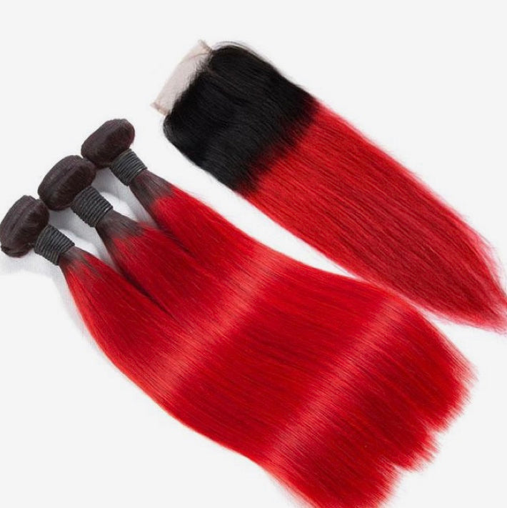 Diamond Two Tone Red Ombre Straight 3 Bundles w/Closure - a-girls-best-friend-hair-co