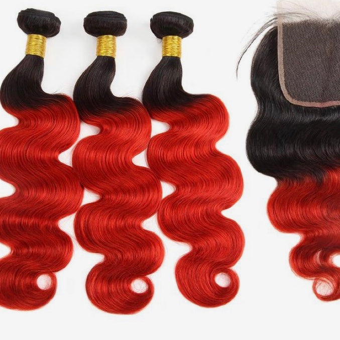 Diamond Two Tone Red Ombre Body Wave 3 Bundles w/ Lace Closure - a-girls-best-friend-hair-co