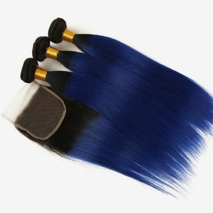 Diamond Two Tone Blue Ombre Straight 3 Bundles w/Closure - a-girls-best-friend-hair-co