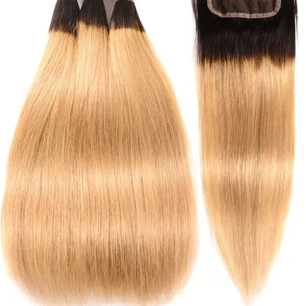 Canary Diamond Two Tone Ombre Straight 3 Bundles w/Closure - a-girls-best-friend-hair-co