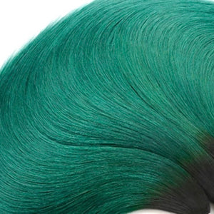 Diamond Two Tone Green Ombre Straight 3 Bundles w/Closure - a-girls-best-friend-hair-co
