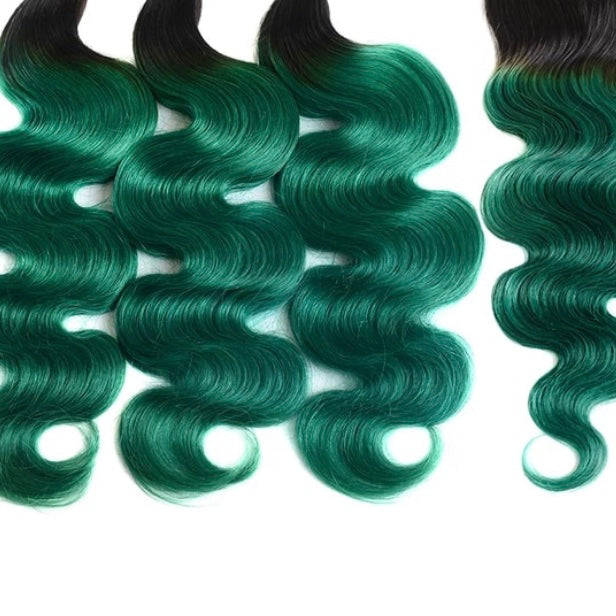 Diamond Two Tone Green Ombre Body Wave 3 Bundles w/Closure - a-girls-best-friend-hair-co