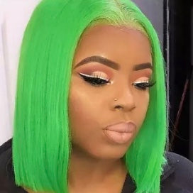 Princess Cut Straight Green Bob Wig