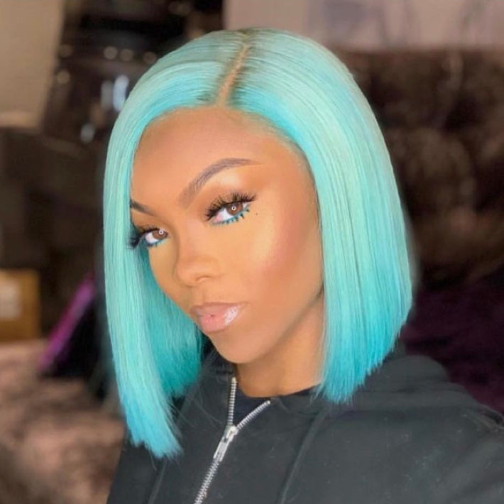 Princess Cut Straight Light Blue Bob Wig