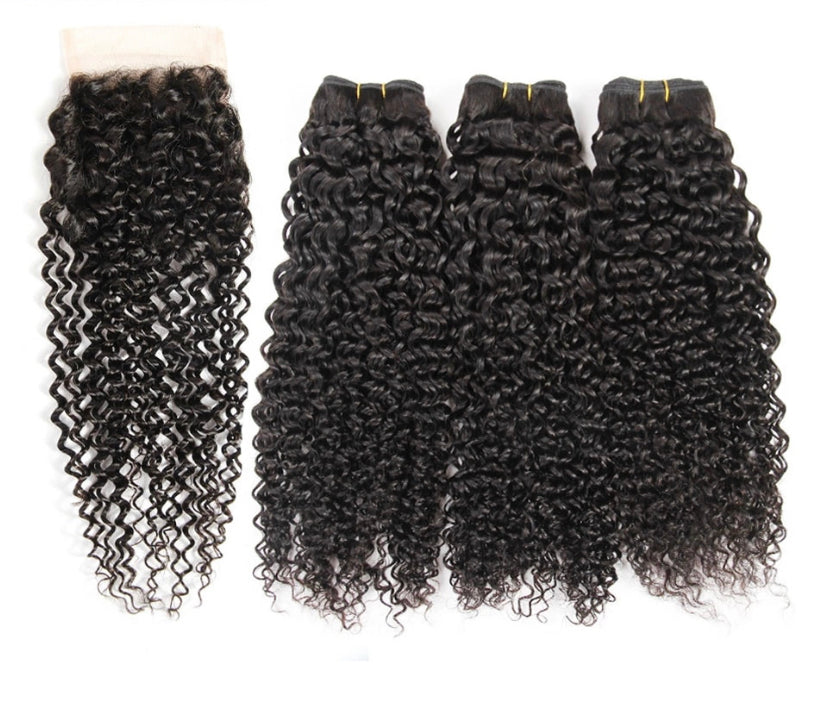 24Karat Kinky Curly Virgin Hair Bundle Deal and Lace Frontal Closure - a-girls-best-friend-hair-co