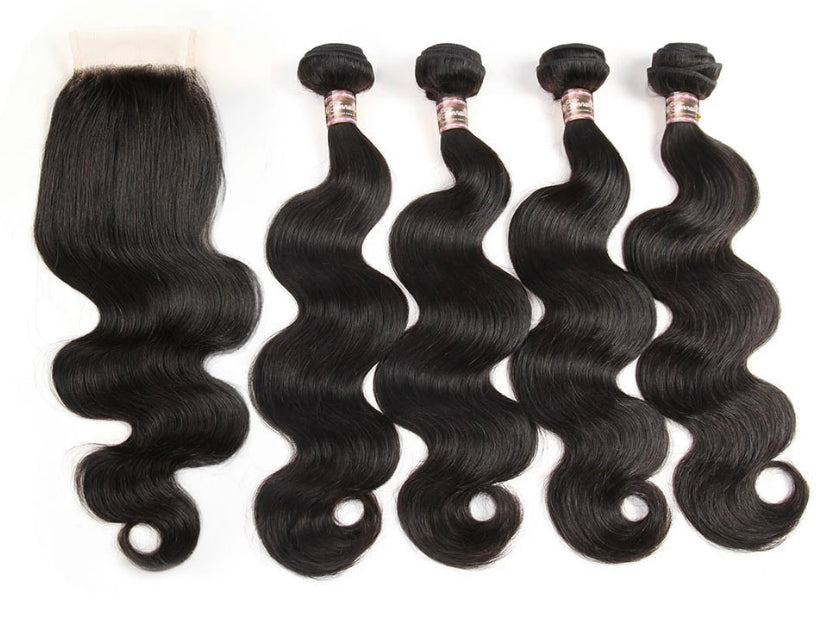 Flawless Body Wave 4 Bundles w/ Closure - a-girls-best-friend-hair-co