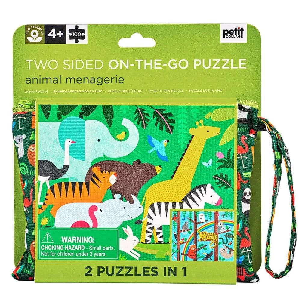 Petit Collage Two-Sided On The Go Puzzle - Animal Menagerie
