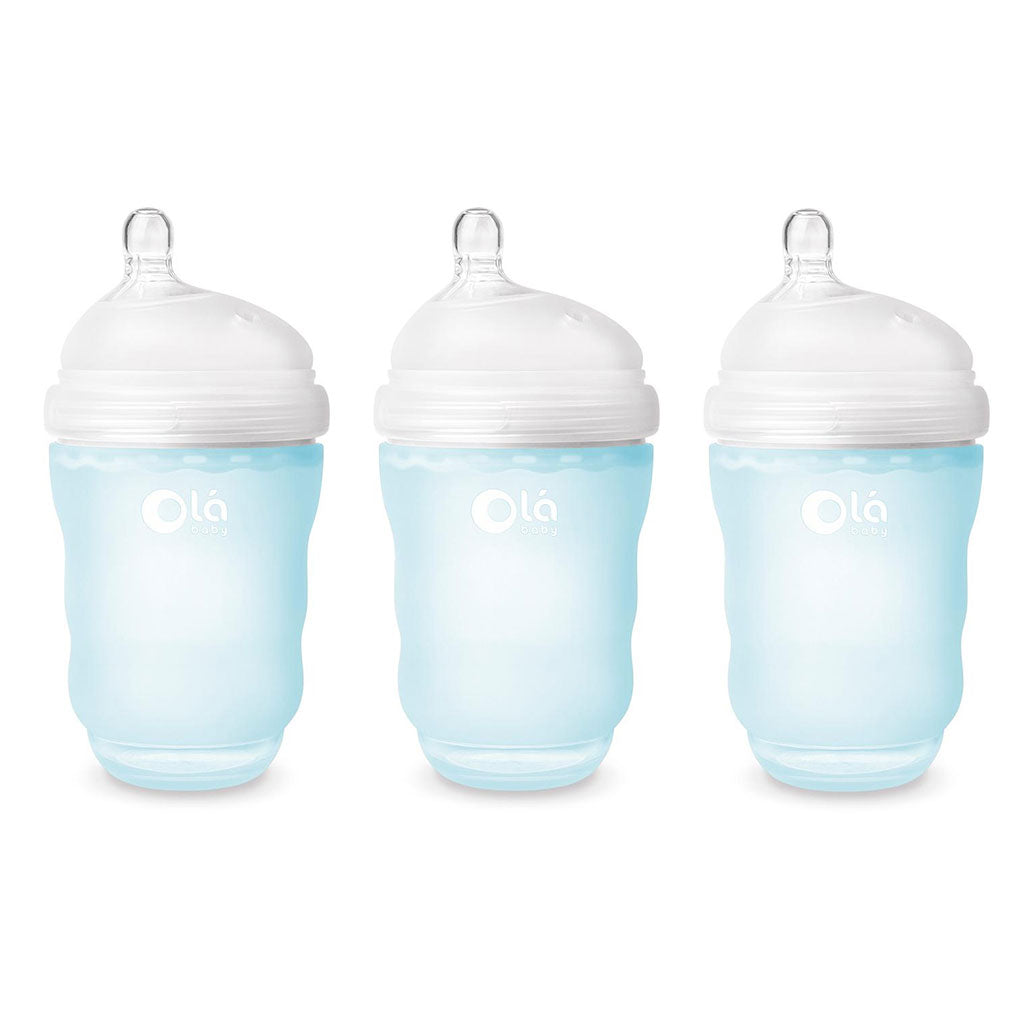 OlaBaby Silicone Gentle Bottle 240ml 3pk Sky - UrbanBaby shop