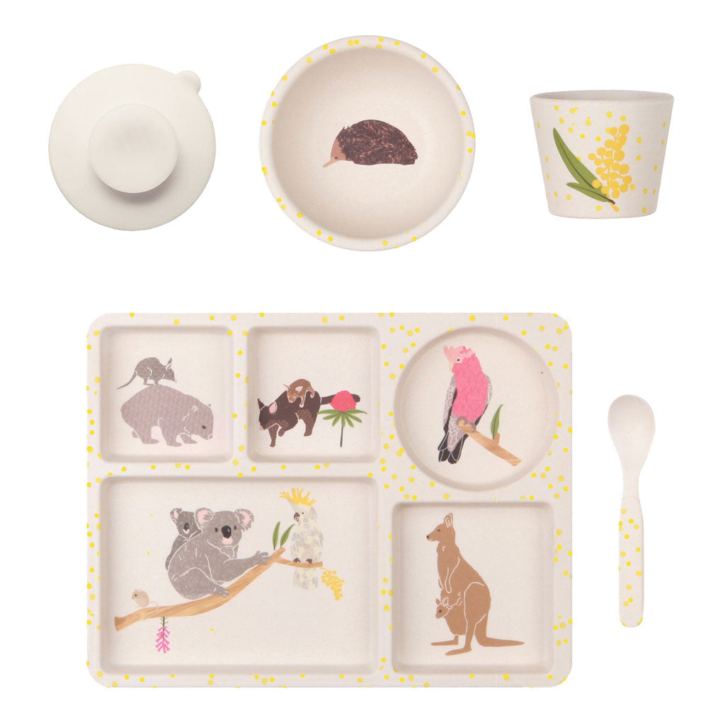 Love Mae 5pc Bamboo Dinner Set Australiana - UrbanBaby shop