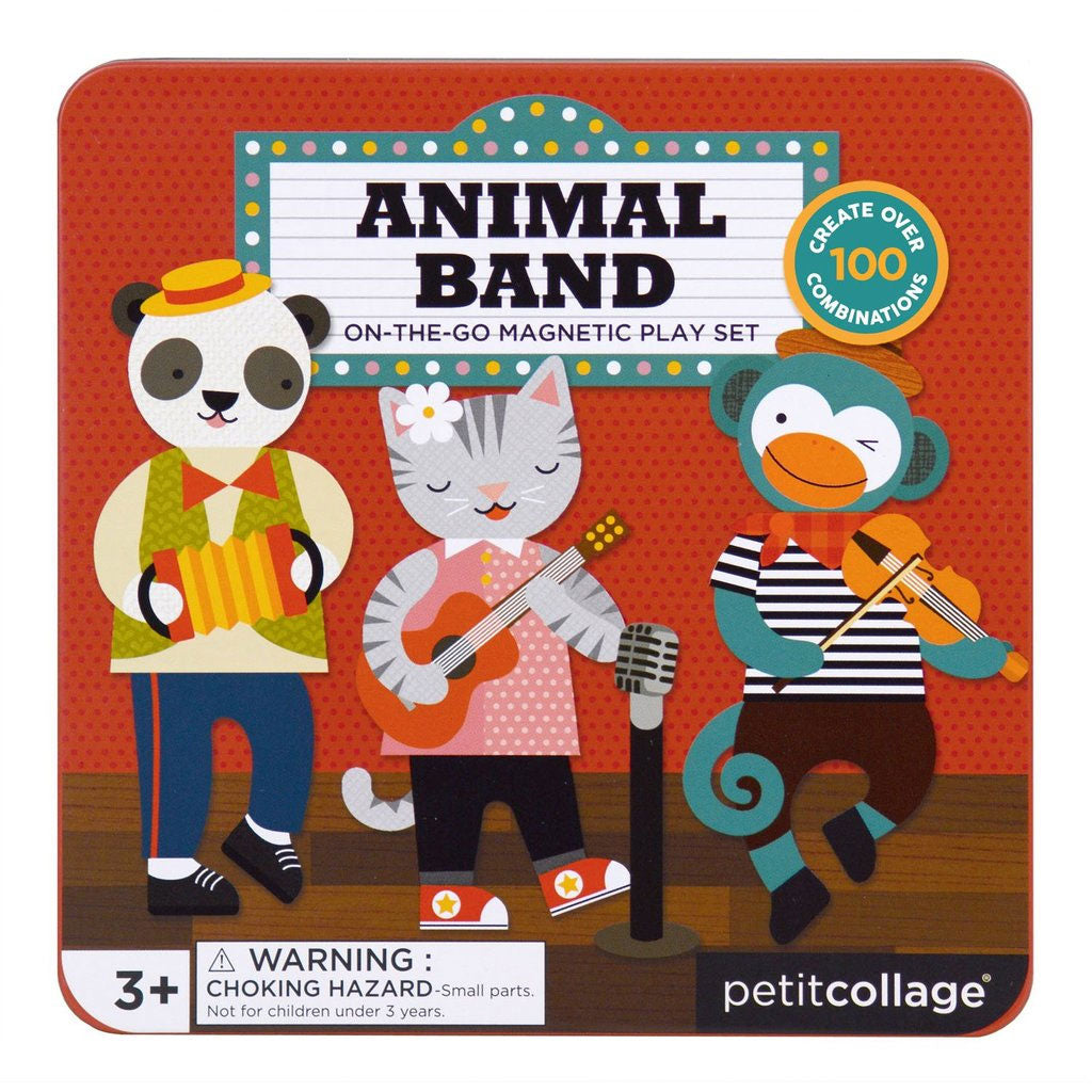 Petit Collage On The Go Magnet Tin - Animal Band