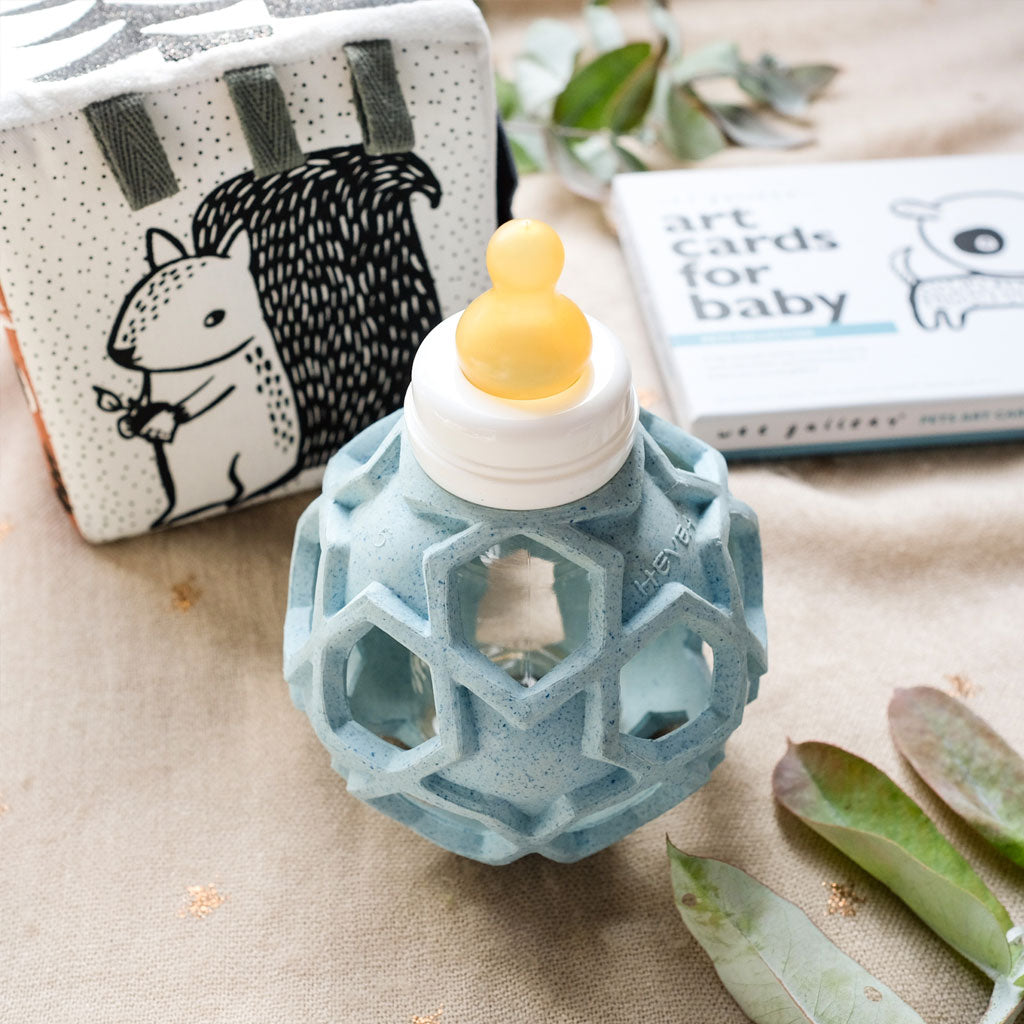 Hevea Glass Baby Bottle With Upcycled Star Ball - Blue - UrbanBaby shop