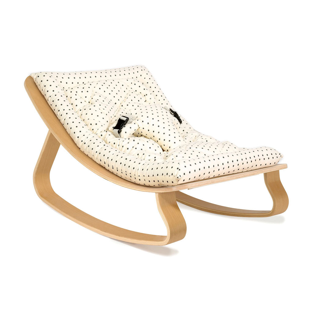Charlie Crane Levo Baby Rocker in Beech with Bonton Cushion - UrbanBaby shop