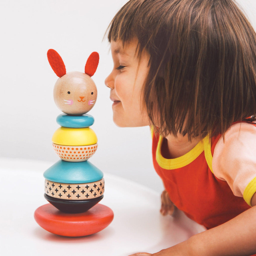 Petit Collage Modern Bunny Wooden Stacking Toy - UrbanBaby shop