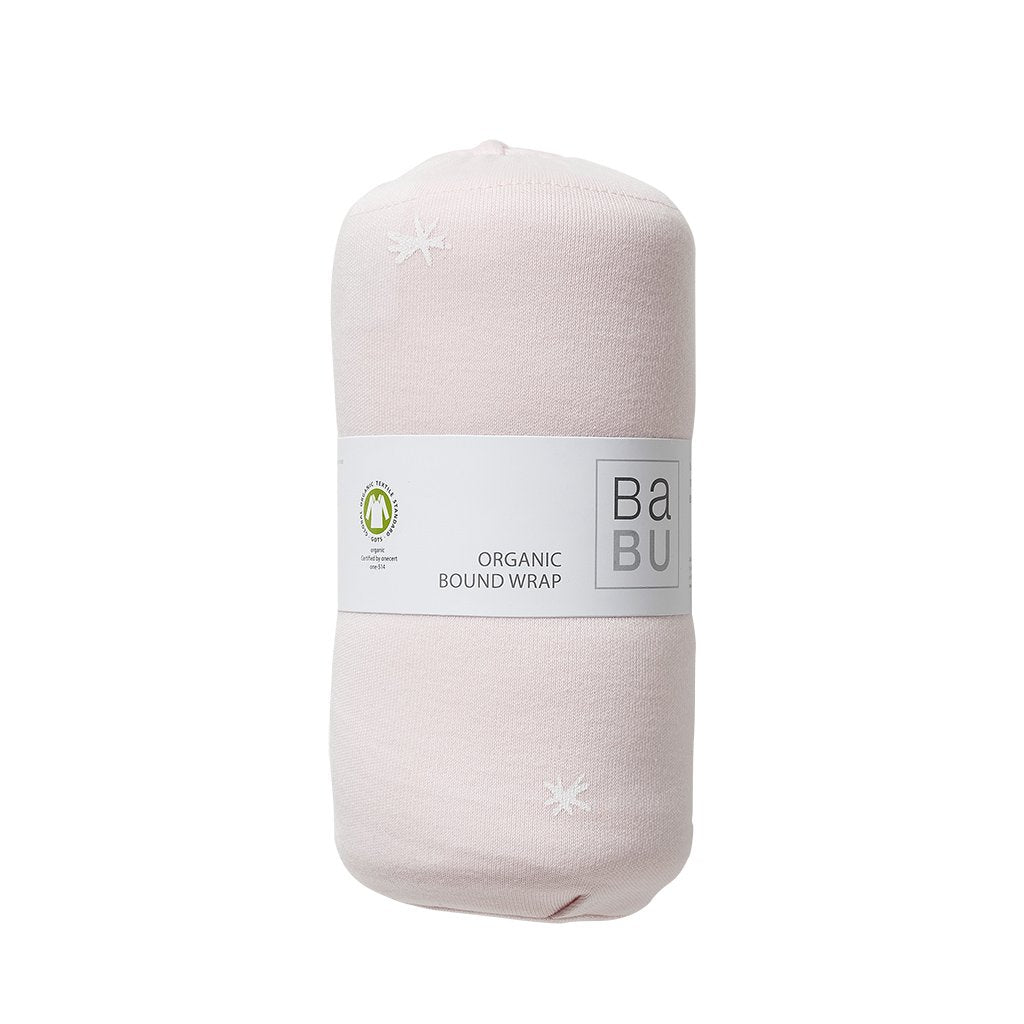 Babu Pure Organic Cotton Baby Wrap Shell Pink Star - UrbanBaby shop