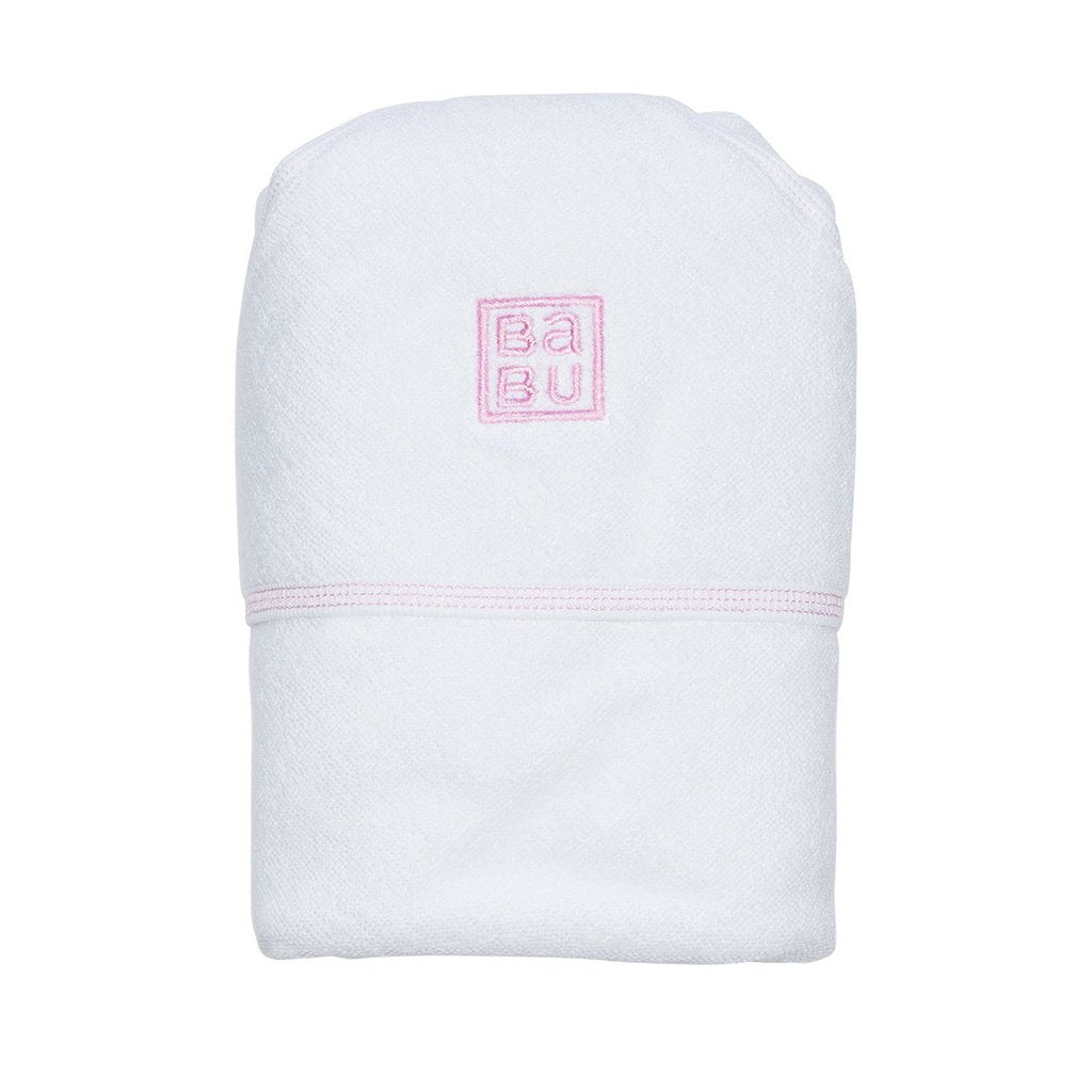Babu Organic Cotton Hooded Baby Towel Pink Detail - UrbanBaby shop