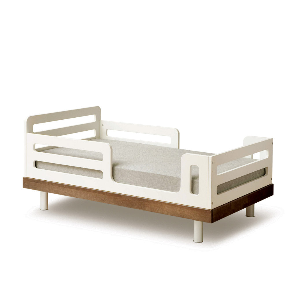 Oeuf Classic Toddler Bed - White w Walnut