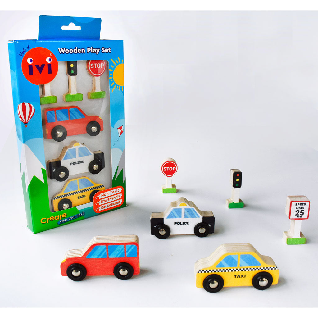 IVI Wooden Play Set - Cars - UrbanBaby shop