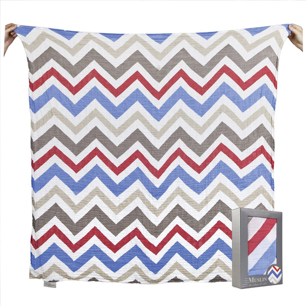 Little Linen Muslin Swaddle - Blue & Red Chevron - UrbanBaby shop