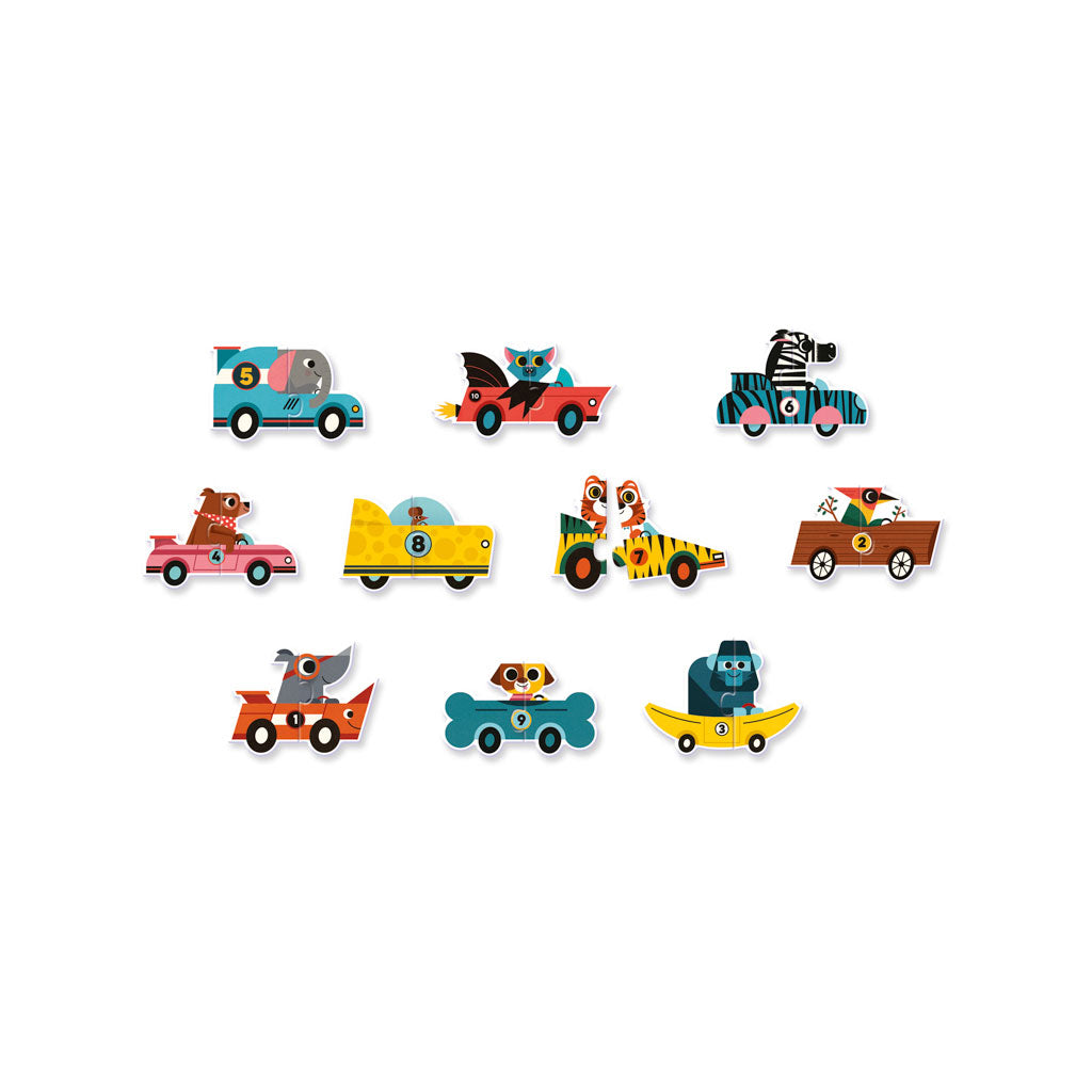 Djeco Duo Puzzle Racing Cars - UrbanBaby shop