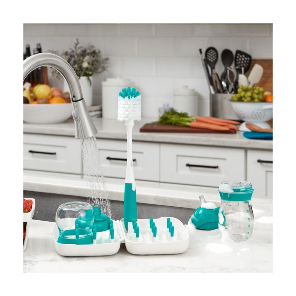 OXO tot On-the-Go Drying Rack & Bottle Brush - Aqua