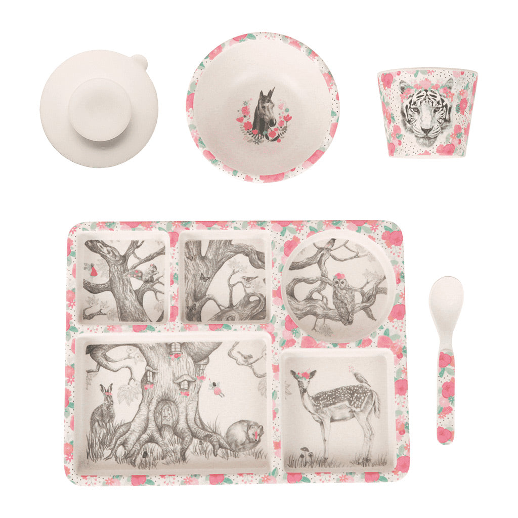 Love Mae 5pc Bamboo Dinner Set Enchanted