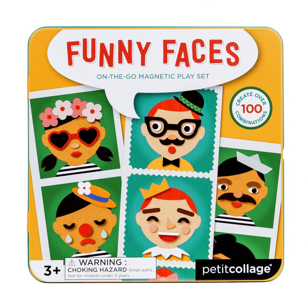 Petit Collage On The Go Magnet Tin Funny Faces