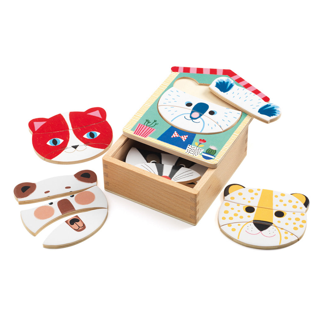 Djeco Wooden Animal Face Puzzle - UrbanBaby shop