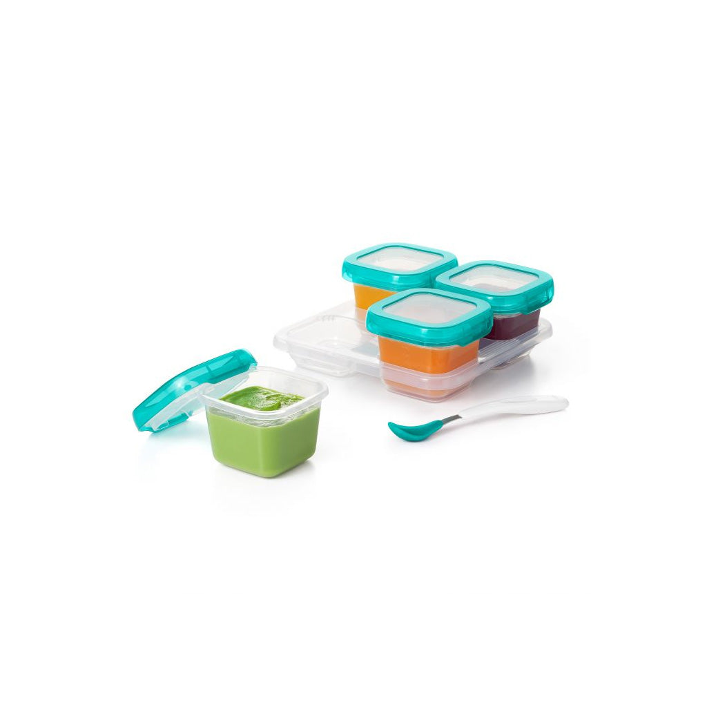 OXO tot Baby Blocks Freezer Storage Containers 120ml Teal - UrbanBaby shop