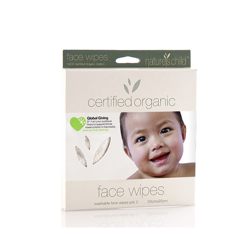 Nature's Child Organic Cotton Face Wipes 2 Pk - UrbanBaby shop