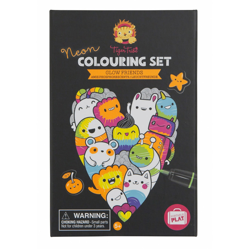 Tiger Tribe Neon Colouring Set - Glow Friends - UrbanBaby shop