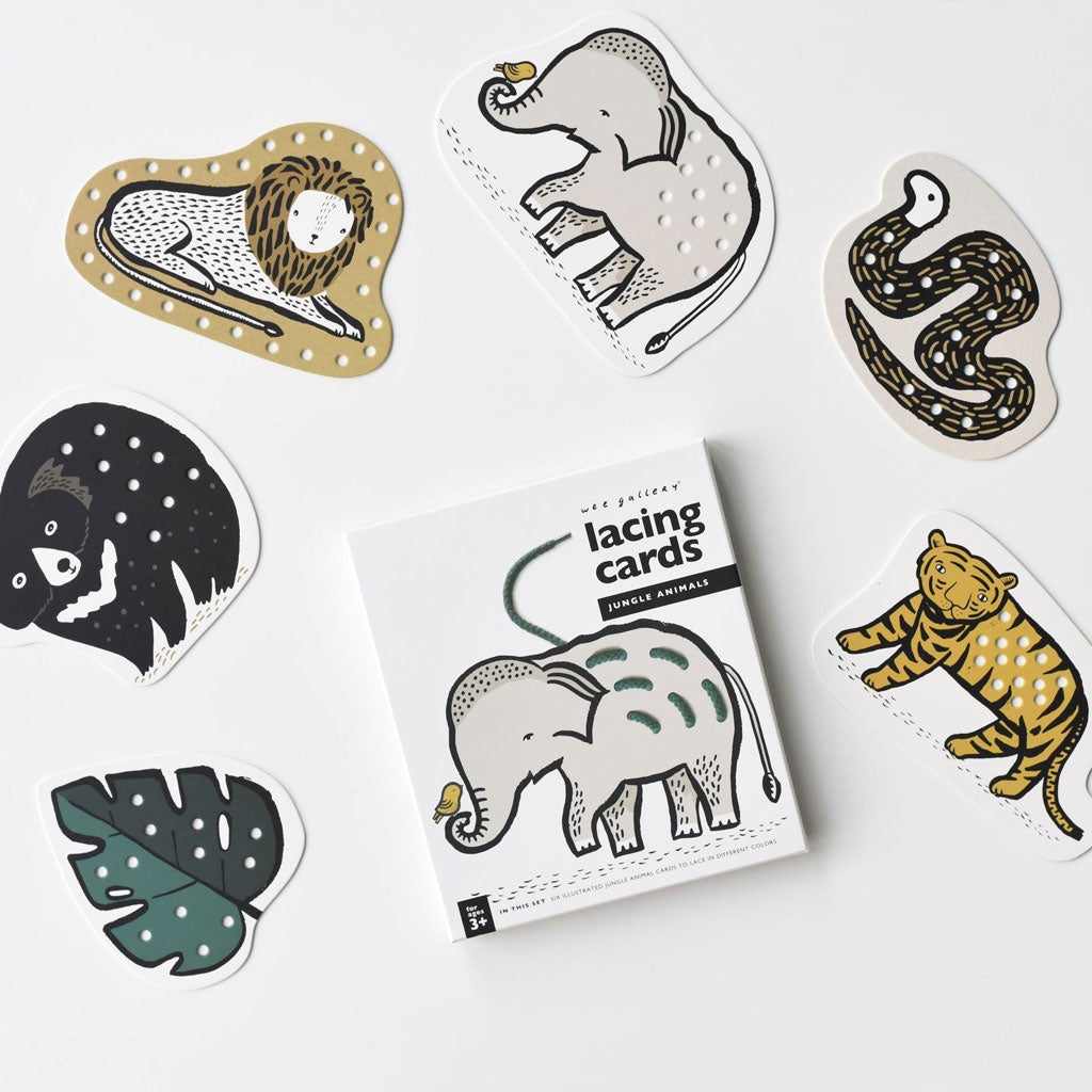 Wee Gallery Lacing Cards - Jungle Animals - UrbanBaby shop