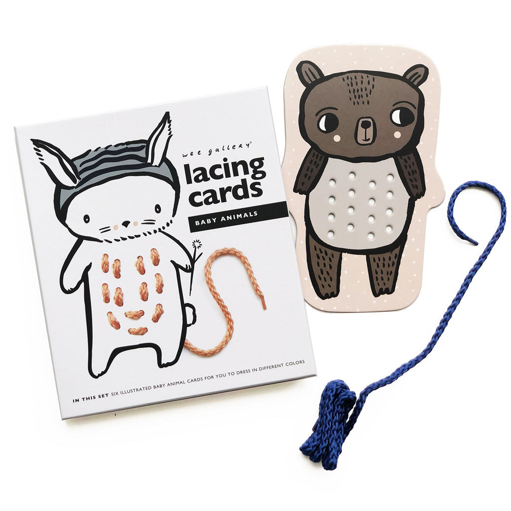 Wee Gallery Lacing Cards - Baby Animals - UrbanBaby shop