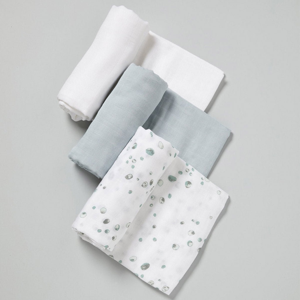 Little Bamboo Muslin Wraps 3 Pack Whisper - UrbanBaby shop